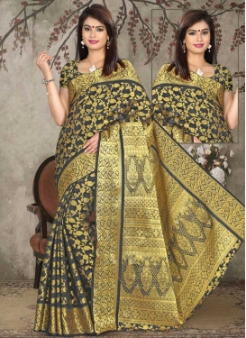 Thread Work Contemporary Saree For Casual