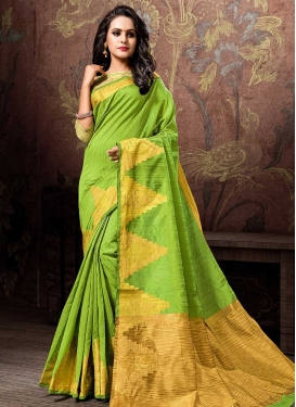 Thread Work Cotton Silk Contemporary Saree