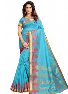 Thread Work Cotton Silk Contemporary Style Saree