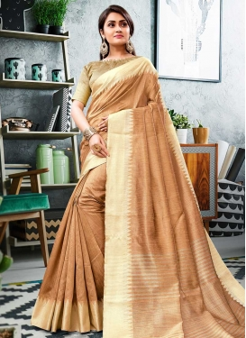 Thread Work Cotton Silk Designer Contemporary Saree For Ceremonial