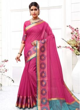 Thread Work Cotton Silk Designer Contemporary Style Saree For Ceremonial