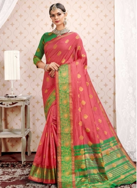 Thread Work Cotton Silk Traditional Designer Saree For Ceremonial