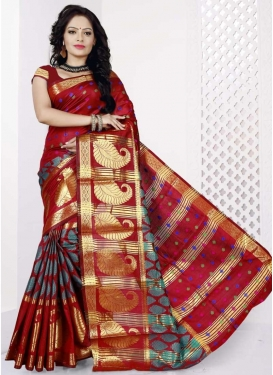Thread Work Cotton Silk Trendy Saree
