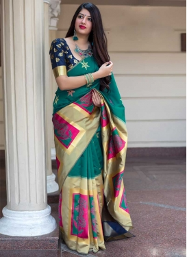 Thread Work Cream and Green Contemporary Style Saree