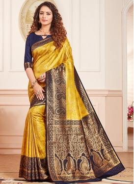 Thread Work Gold and Navy Blue Trendy Classic Saree