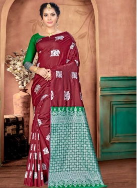 Thread Work Green and Maroon Traditional Designer Saree