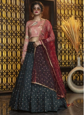 Thread Work Green and Peach A - Line Lehenga