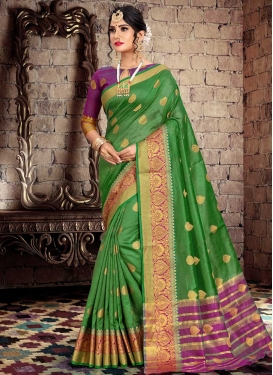 Thread Work Green and Purple Designer Traditional Saree