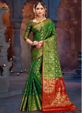 Thread Work Green and Red Trendy Classic Saree
