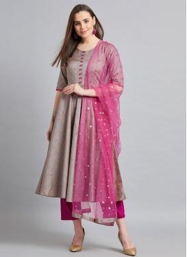 Thread Work Grey and Magenta Readymade Salwar Suit