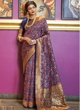 Thread Work Handloom Silk Designer Contemporary Saree