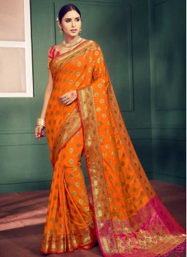 Thread Work Handloom Silk Designer Contemporary Style Saree