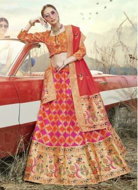 Thread Work Jacquard Silk A Line Lehenga Choli