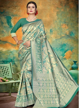 Thread Work Jacquard Silk Contemporary Style Saree