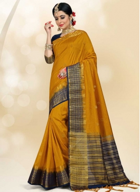 Thread Work Jacquard Silk Designer Contemporary Style Saree