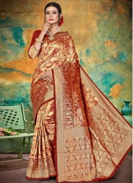 Thread Work Jacquard Silk Designer Traditional Saree
