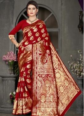 Thread Work Jacquard Silk Designer Traditional Saree For Casual