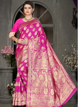 Thread Work Jacquard Silk Trendy Classic Saree