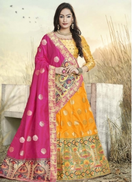 Thread Work Jacquard Silk Trendy Lehenga
