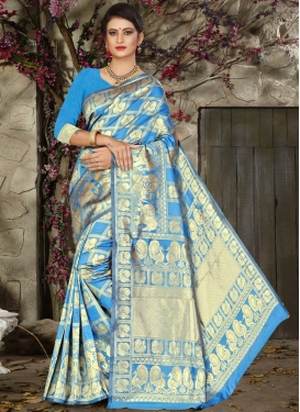 Thread Work Jacquard Silk Trendy Saree