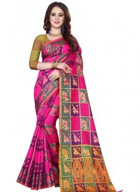 Thread Work Kanjivaram Silk Designer Contemporary Style Saree