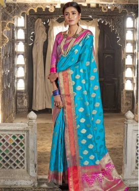 Thread Work Light Blue and Rose Pink Traditional Designer Saree