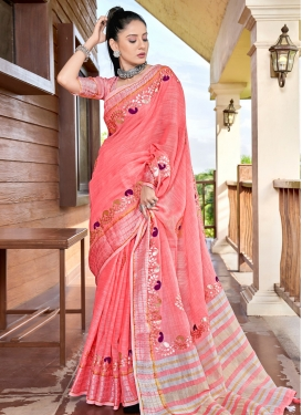 Thread Work Linen Designer Contemporary Style Saree