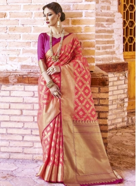 Thread Work Magenta and Salmon Contemporary Saree