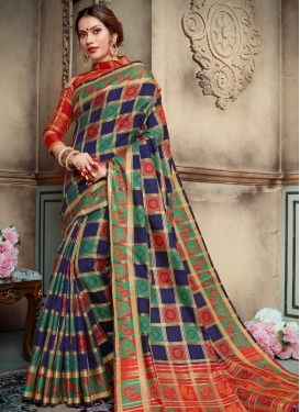 Thread Work Navy Blue and Orange Traditional Saree