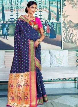 Thread Work Navy Blue and Rose Pink Designer Traditional Saree
