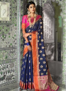 Thread Work Navy Blue and Rose Pink Trendy Classic Saree