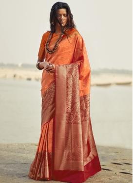 Thread Work Orange and Red Trendy Saree