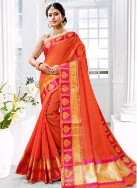 Thread Work Orange and Rose Pink Classic Saree