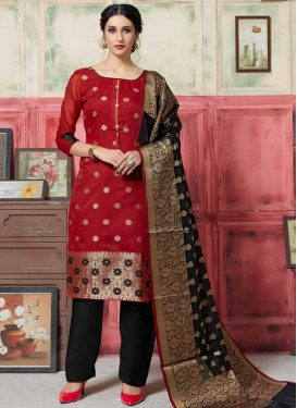 Thread Work Palazzo Straight Salwar Kameez For Casual