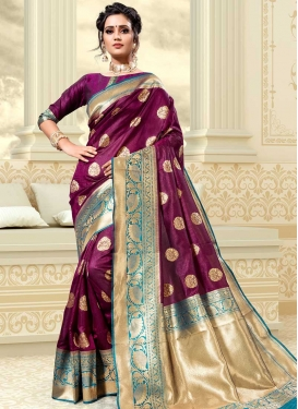 Thread Work Purple and Teal Traditional Saree