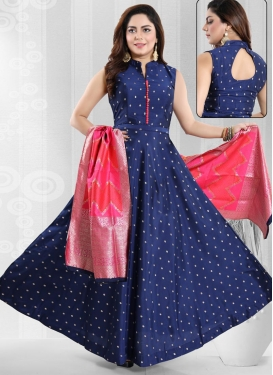 Thread Work Readymade Long Length Gown