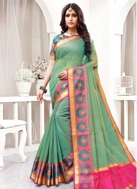 Thread Work Rose Pink and Sea Green Trendy Classic Saree
