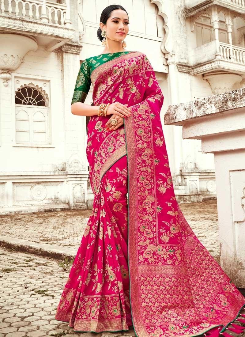 Thread Work Silk Fuchsia and Green Designer Contemporary Style Saree