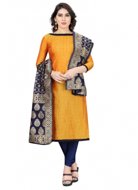 Thread Work Tafeta Silk Mustard and Navy Blue Trendy Churidar Salwar Kameez