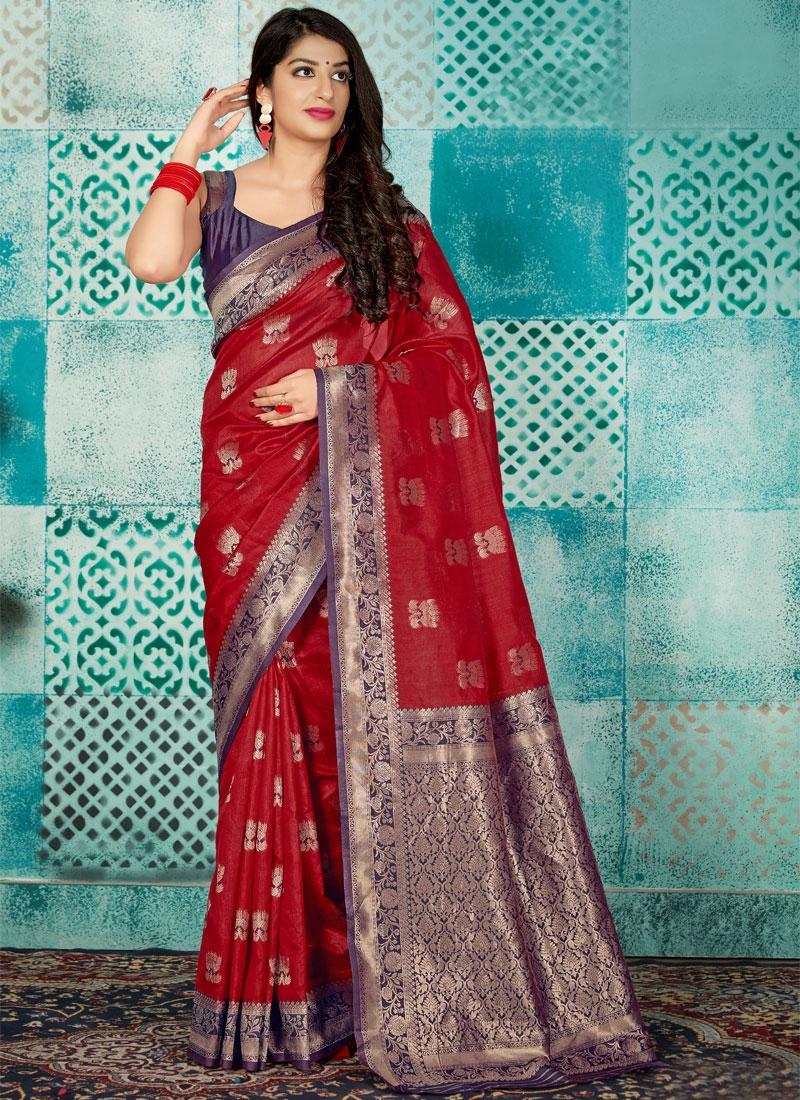 Thread Work Traditional Designer Saree For Ceremonial