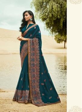 Thrilling Art Silk Teal Traditional Designer Saree