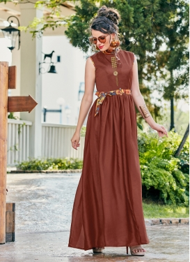 Thrilling Crepe Silk Fancy Brown Readymade Gown
