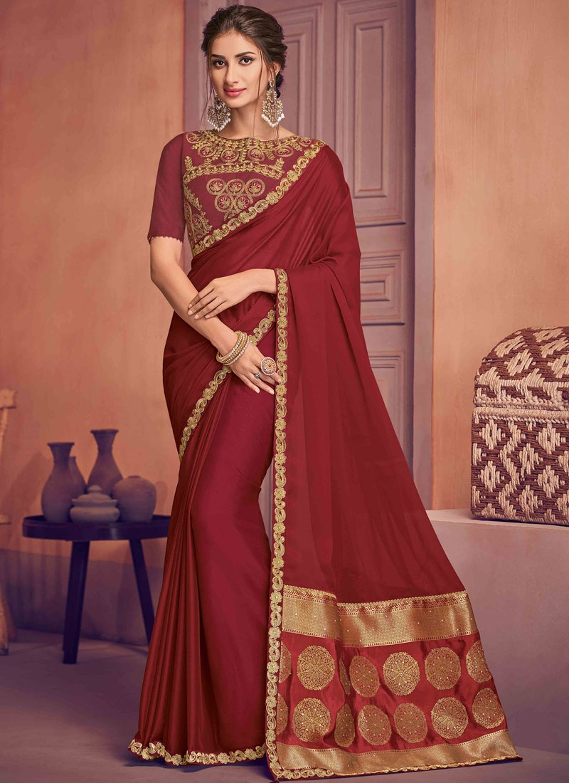 Thrilling Embroidered Maroon Designer Traditional Saree