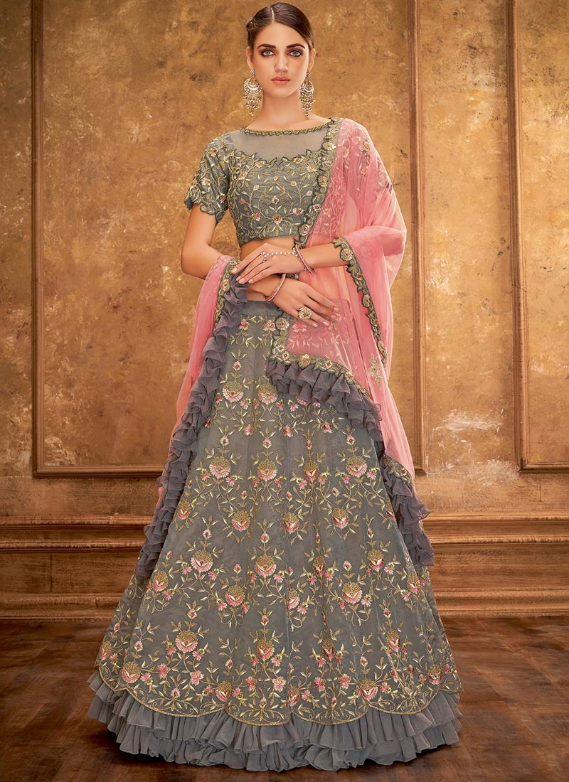 Tissue Embroidered Work Trendy Lehenga