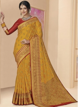Tissue Mustard and Red Woven Work Traditional Designer Saree