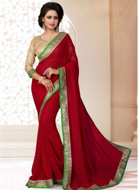 Titillating Crimson Color Faux Georgette Casual Saree