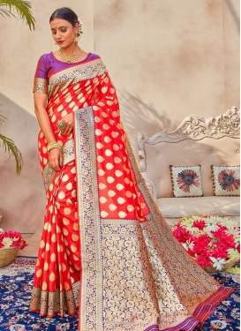 Tomato and Violet Designer Traditional Saree