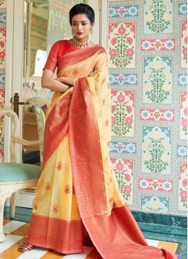 Tomato and Yellow Designer Contemporary Style Saree