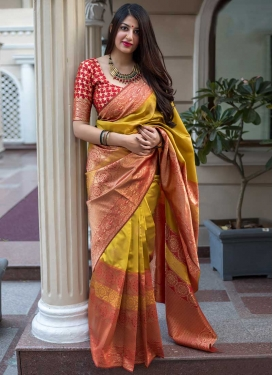 Tomato and Yellow Trendy Classic Saree