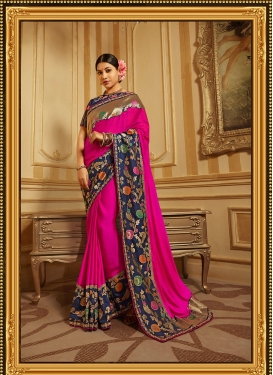 Traditional Designer Saree Patch Border Art Silk in Rose Pink